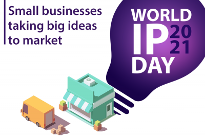 World IP Day signature illustration of delivery truck and small business building.