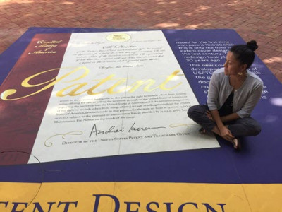 •Inventor Spotlight: Ruth Young visiting USPTO Headquarters and admiring new patent cover design