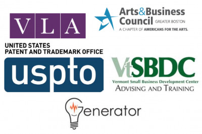 Four logos including: USPTO, the Vermont Small Business Development Center, the Arts & Business Council of Greater Boston, the Volunteer Lawyers for the Arts of Massachusetts, and Burlington Generator, Memorial Auditorium.