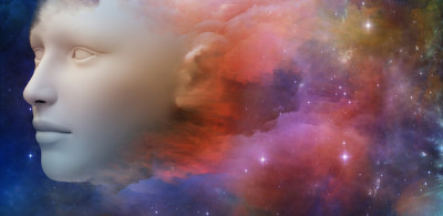 Human face represented in galaxy colors