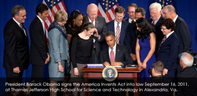 President Barack Obama signing the America Invents Act into law at the Thomas Jefferson High School for Science and Technology in Alexandria, VA