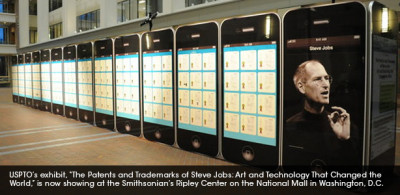 "USPTO's exhibit, ""The Patents and Trademarks of Steve Jobs: Art and Technology That Changed the World"" showing at the Smithsonian's Ripley Center On the National Mall in Washington, DC"