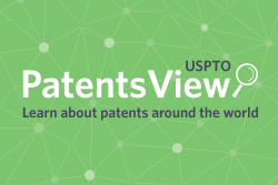"PatentsView logo with tagline, ""Learn about patents around the world"" on a green background."