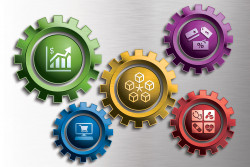Illustration of multicolored gears containing business icons