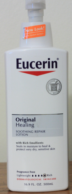 Eucerin specimen shows trademark use for cosmetic skin lotion. The specimen is a photograph of a lotion dispenser. The trademark is shown prominently on the dispenser.