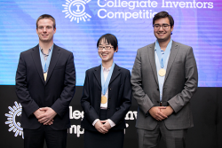 Collegiate Inventors Competition winners from left to right: Matthew Rooda, Ning Mao, and Abraham Espinoza.