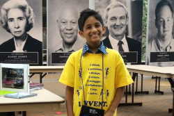 Kedar Narayan, 9-year-old inventor of Storibot, a game that teaches programming and is accessible to the visually impaired.