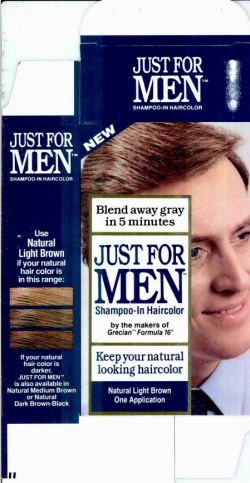 Just for Men specimen shows trademark use for hair coloring preparations. The specimen is a photograph of a package for hair coloring. The trademark is shown prominently on the packaging.