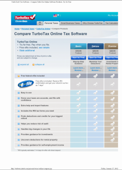 TurboTax specimen shows trademark use for a specific type of non-downloadable software. The specimen is a screenshot of an online advertisement. The trademark is in the upper left corner of the screen.