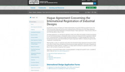 Screenshot of a news article on the USPTO website about the Hague Agreement Concerning the International Registration of Industrial Designs