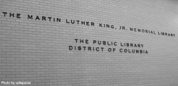 The Martin Luther King Jr. Memorial Library sign
