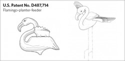 US Patent Number D487,714 of the Flamingo plant feeder