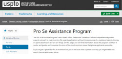 Screenshot of USPTO website Pro Se Assistance Program Page