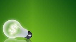 Lightbulb on a green background