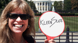 Julia Rhodes, owner of KleenSlate Concepts outside the White House