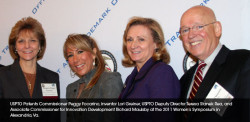 USPTO Patents Commissioner Peggy Focarino, inventor Lori Greiner, USPTO Deputy Director Teresa Stanek Rea, and Associate Commissioner for Innovation Development Richard Maulsby at the 2011 Women's Entrepreneurship Symposium in Alexandria, VA