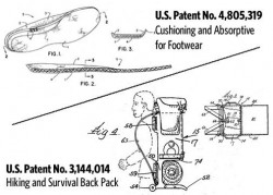 Patent drawings -- Cushioning and  absorptive for footwear, and hiking and survival backpack