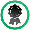 certificate of a trademark registration symbol that is a black ribbon inside a green circle