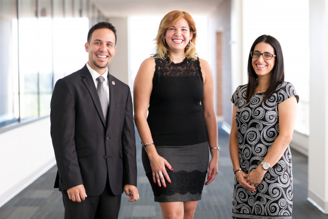 Portrait of, from left to right, Jorge Ortiz-Criado, Arleen Vazquez and Maria Santos