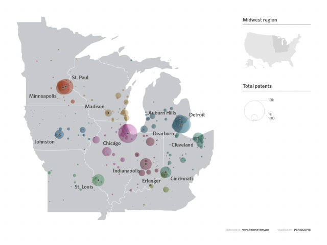 Geographic visualization of patents in the upper midwest