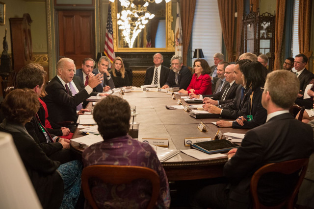 Michelle Lee participates in cancer moonshot meeting with Vice Peesident Biden.