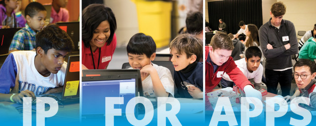Elementary, middle and high school students spend a day learning about coding and IP.