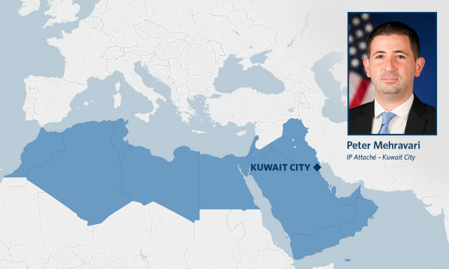 Map of Middle East Regional Post for Peter Mehravari, IP Attaché for Kuwait City.