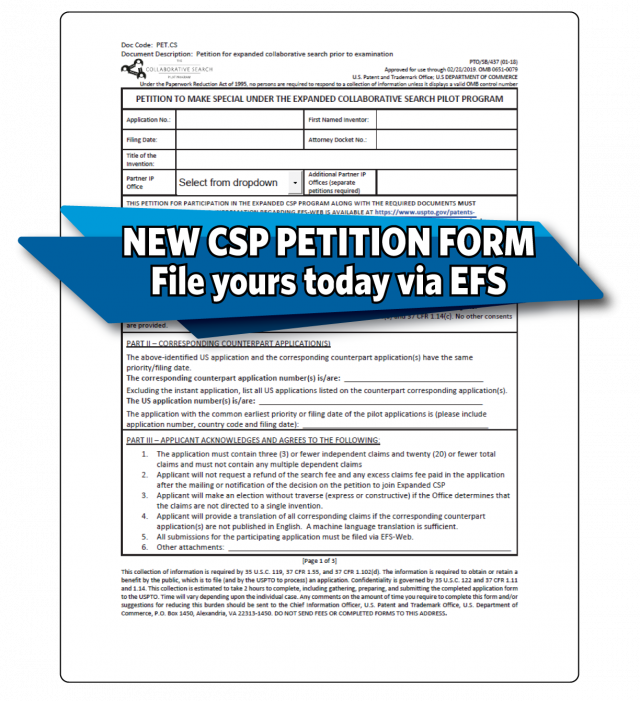 New Collaborative Search Program petition form with the following words overlaid: New CSP petition form file yours today via EFS