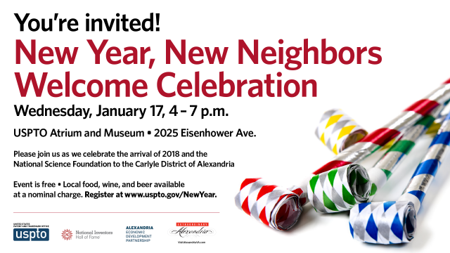 New year new neighbors invite with party favors on right side