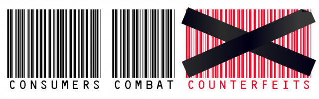 Banner introducing the United States Patent and Trademark Office's 2018 Video Contest called Consumers Combat Counterfeits. Banner shows the contest logo, which is three large bar-codes with Consumers Combat Counterfeits written under each bar code.
