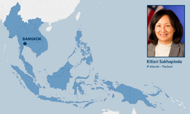 Map of southeast Asia and photo of IP attache Kitisri Sukhapinda