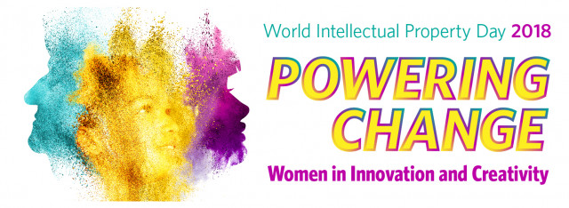 World Intellectual Property Day 2018: Powering Change. Women in Innovation and Creativity. Image of brightly colored powder exploding up to form silhouette images of three generations of female faces.
