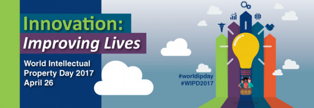 Event logo: Innovation: Improving Lives, World Intellectual Property Day 2017, April 26. #worldipday, #WIPD2017