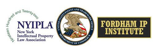 Logos of the New York Intellectual Property Association, the USPTO, and Fordham IP Institute