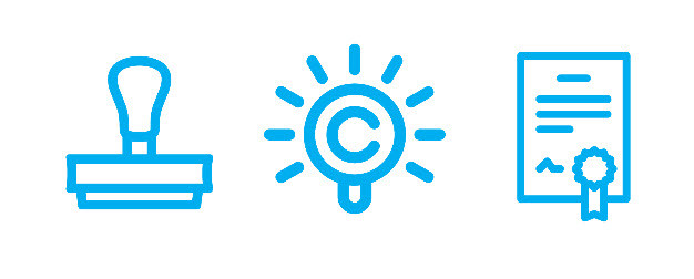 Icon with a stamp, a copyright symbol, and an award