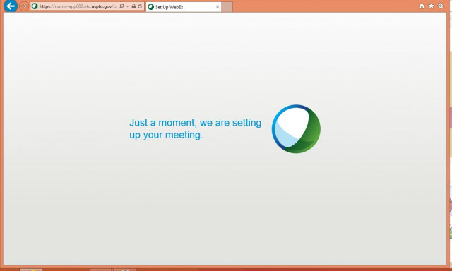 WebEx setting up meeting message