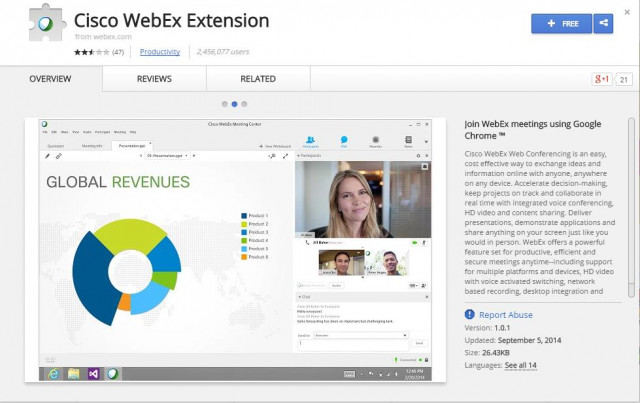 WebEx browser extension page