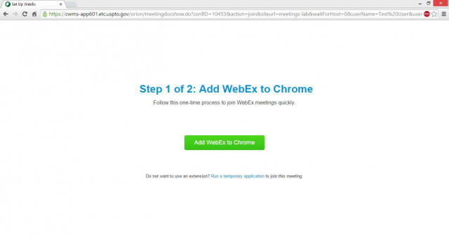 WebEx add to Chrome dialog