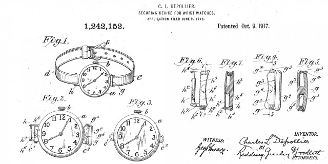 Patent drawing of a wrist watch securing device.