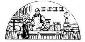 An intricate design of a boy and a man in a supermarket. There are small details, such as a scale, a cash register, and food, but the prominent features are the boy, the man, and the supermarket.