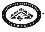 The wording CERTIFIED RESPONSIBLE FISHERIES ALASKA SEAFOOD with a picture of a boat in front of an iceberg all within an oval border