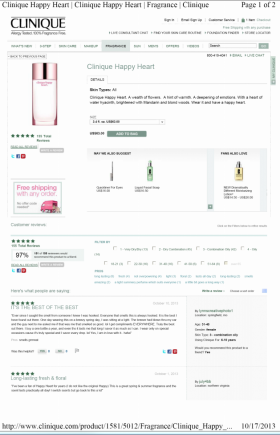 Clinique Happy Heart specimen shows trademark use for perfumery. The specimen is a screenshot of a webpage where consumers can purchase the perfume. The trademark is shown on the perfume bottle and in the top middle of the webpage as the product name.