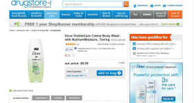 Dove specimen shows trademark use for body wash and body bars soap. The specimen is a screenshot of a webpage where consumers can purchase the soap. The trademark is shown on an image of a bottle of body wash and next to the product image on the webpage.