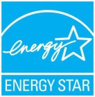 A blue square with word ENERGY in white stylized script with the Y intersecting the white outline of a five-pointed star under a white curved line, and wording ENERGY STAR in white upper case letters under a white straight line at bottom of square