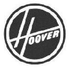 HOOVER within a black circle with a white and black border, and the word HOOVER in white stylized letters within the circle.