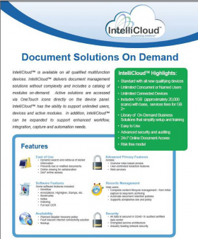 Intellicloud specimen shows trademark use for a specific type of non-downloadable software. The specimen is a screenshot of an online advertisement. The trademark is shown prominently in the top right-side of the screen.
