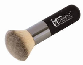 It Cosmetics specimen shows trademark use for cosmetic brushes. The specimen is a photograph showing the trademark printed on the handle of a cosmetic brush.