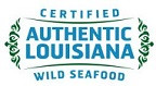CERTIFIED AUTHENTIC LOUISIANA WILD SEAFOOD in blue upper case letters with a green garland on either side of the stacked wording