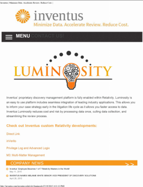 Luminosity specimen shows trademark use for a specific type of non-downloadable software. The specimen is a screenshot of an online advertisement. The trademark is shown prominently near the top of the screen.