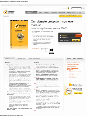 Norton by Symantec specimen shows trademark use for antivirus software. The specimen is a screenshot of a webpage selling the software. The trademark is shown on an image of packaging for the goods and in the upper left corner of the webpage.